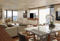 Sanlorenzo SL106 à louer sur la Côte d'Azur - salon et salle à manger