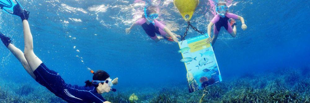 Une femme et deux fillettes regardant un panneau informatif sur un sentier balisé de snorkeling à Port-Cros sur la Côte d'Azur