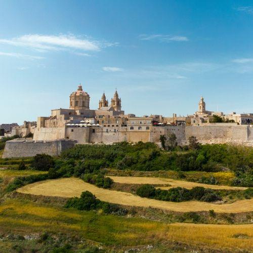 La cité silencieuse historique de Mdina avec ses palais et ses collines alentours