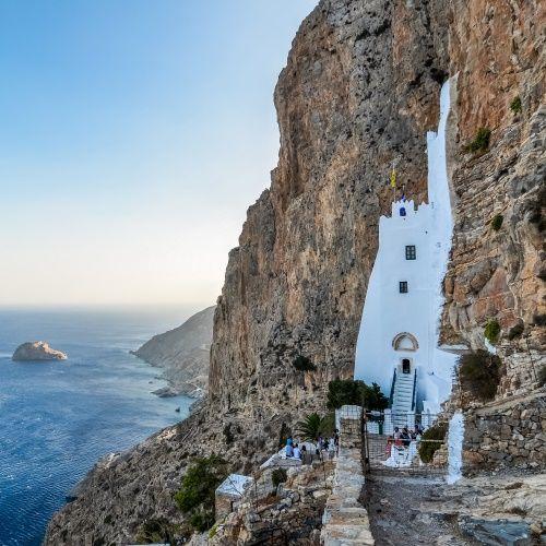 Le monastère d'Hozoviotisa sur l'île d'Amorgos dans les Cyclades en Grèce