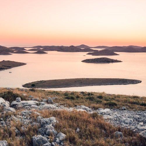 Vue aérienne des îles du parc national de Kornati en Croatie